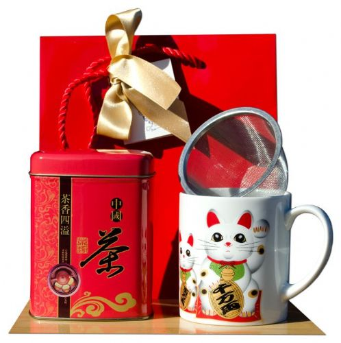 Gift bag – Jasmine tea & Traditional White Lucky cat Tea mug Japanese